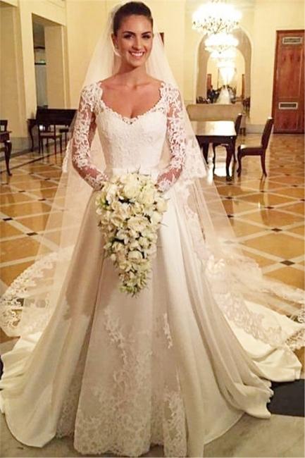 Princess A Line Satin Wedding Dress White Lace V Neck Long Sleeve  Bridal Gowns