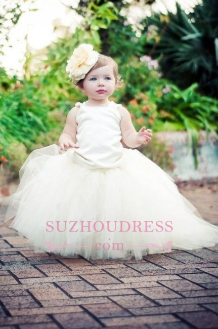 Tulle Scoop Sleeveless Ball-Gown Flower-Girl-Dresses  Pearls Pageant Dress
