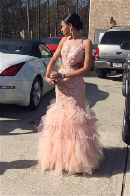 Tulle Lace  Mermaid Elegant Sleeveless Floor-Length Prom Dress