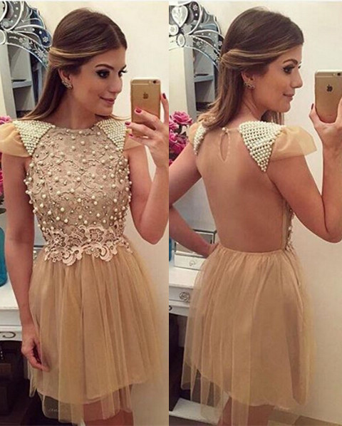 Cute Beading Lace Homecoming Dresses A-Line  Open Back Cocktail Gowns