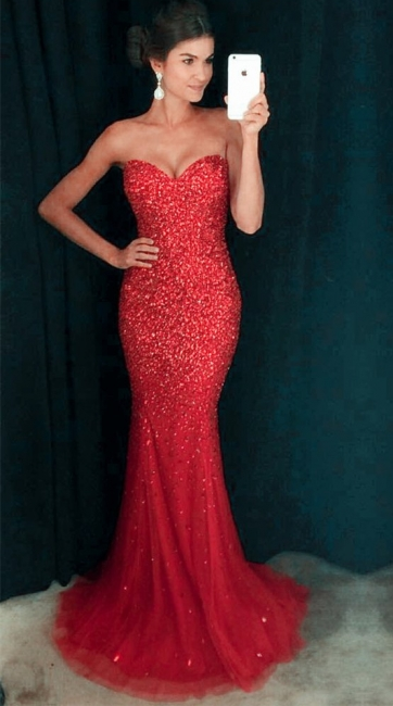 Sparkly Crystals Sequins Mermaid Prom Dress  Sweetheart Long Evening Gown   GA096