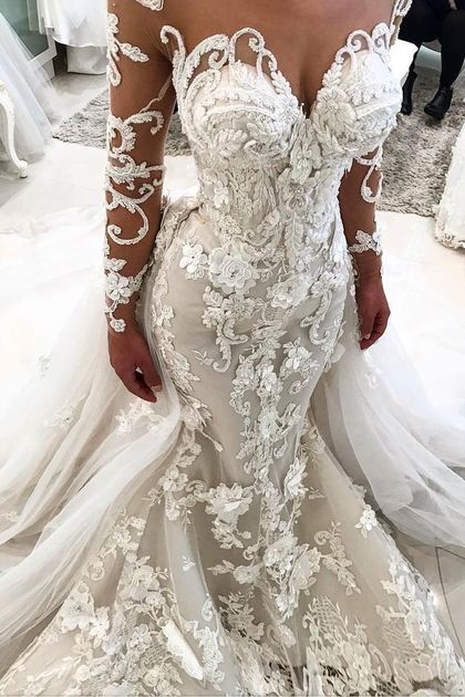 Gorgeous Mermaid Tulle Lace White Wedding Dresses Appliques Long-Sleeves Bridal Gowns On Sale