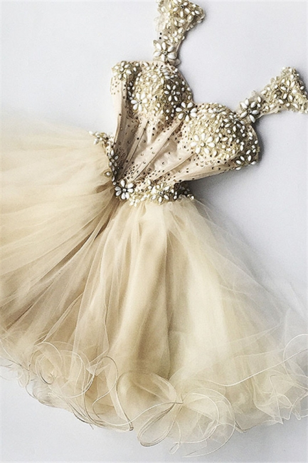 Beaded Flowers Champagne Homecoming Dresses   Organza Short Appliques Hoco Dress