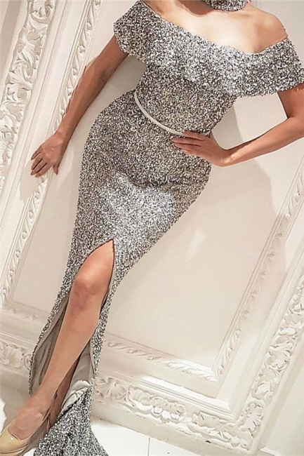 Off The Shoulder Silver Sequins Shiny Evening Gown Front Slit Sexy Prom Dress  BA7006