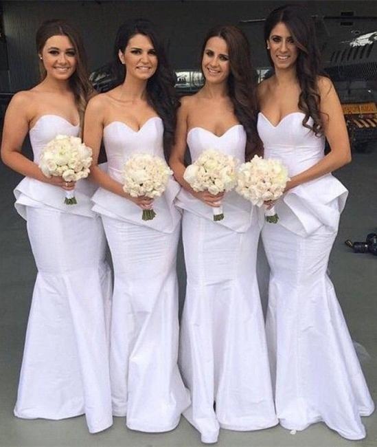 Sexy Mermaid Sweetheart Bridal Dress  Simple Floor Length Wedding Party Dresses