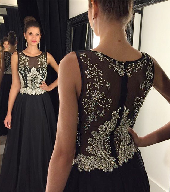 Gorgeous A-Line Crystal Black Prom Dress Latest Beading Zipper  Evening Gown
