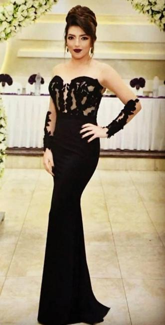 Sexy Mermaid Black Evening Dress  Long Sleeve Appliques Sheer Formal Dress