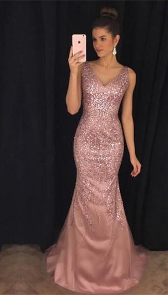 Pink Mermaid Sleeveless Evening Dresses | Crystal V-Neck Prom Dresses