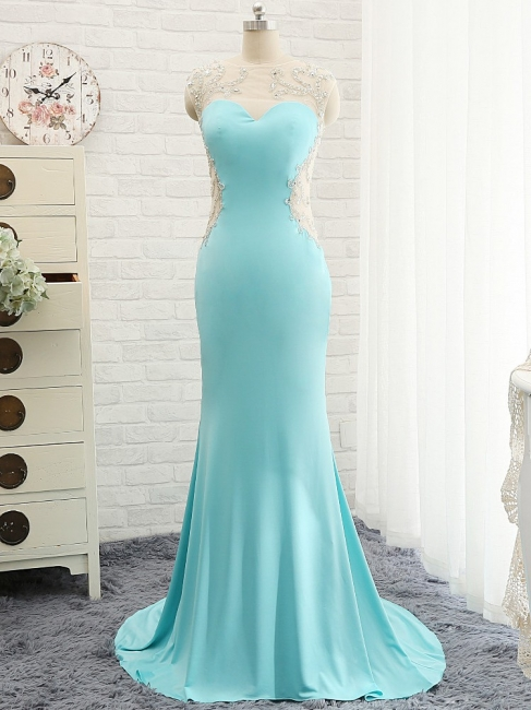Goregeous Blue Crystal Summer Prom Dresses Mermaid Long Open Back Evening Gowns