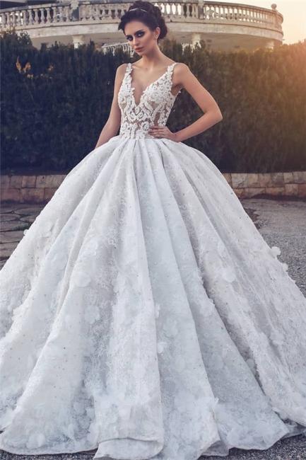 Lace Appliques Sexy Sleeveless Wedding Dresses Princess Ball