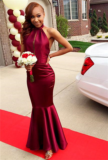 Red Halter Sexy Mermaid Long Evening Dress Simple Floor Length Backless Dresses for Women