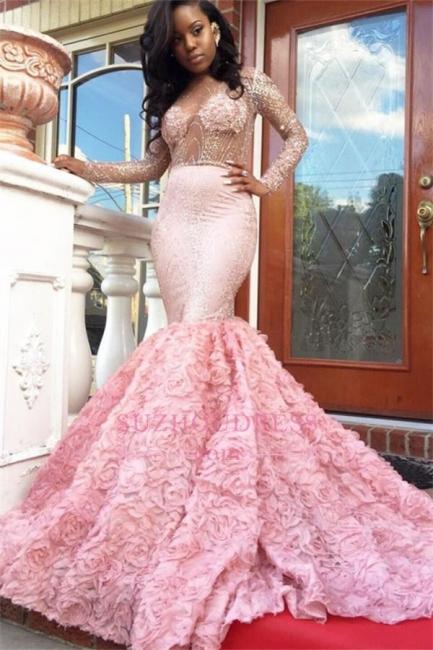 Sleeves Pink Appliques Mermaid Beadings Elegant Long Prom Dress qq0235