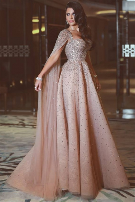 Sexy Full Beads Sequins Open Back Evening Dresses Luxurious Pink Prom Dress with Cape Sleeves BA7360