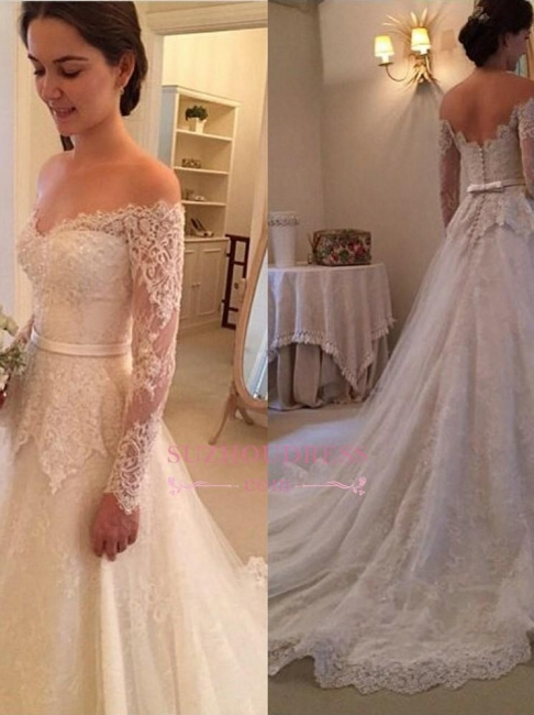 Long Sleeves Off-The-Shoulder New Arrival Bridal Gowns Lace  Wedding Dress