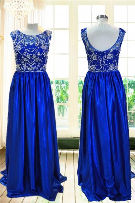 Royal Blue Elegant Evening Dresses with Crystal Beading Charming  Prom Dress