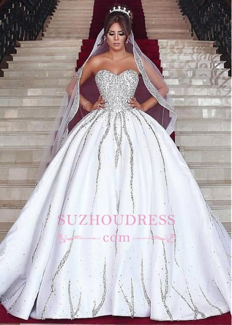 Gorgeous Sweetheart Ball-Gown Beading Sleeveless Wedding-Dresses Bridal Gowns