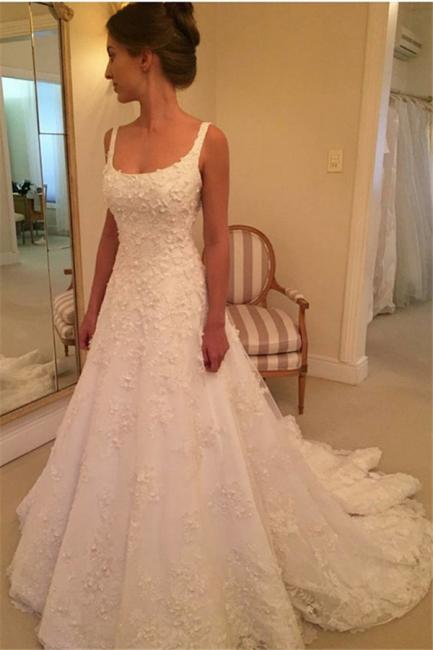 Elegant Straps A-line Wedding Dresses  | Lace Appliques Open Back Bridal Gowns with Buttons