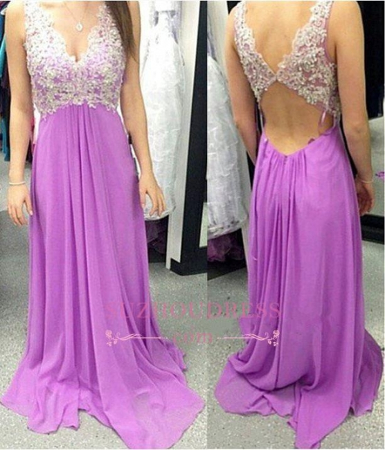 A-Line V-neck Chiffon Long Evening Gowns Sleeveless Appliques Prom Dresses