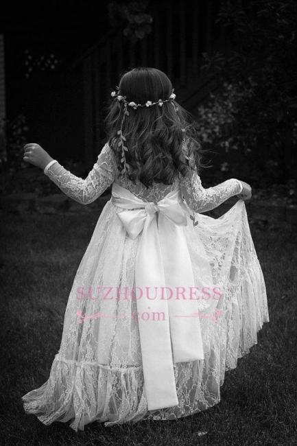 Lace Modern Bow Flower Length Girls Pageant Dress Long Sleeve Flower Girl Dress