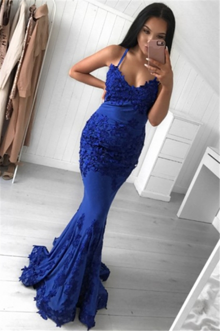 Royal Blue Appliques Sexy Evening Dresses  | Sleeveless Sheath  Formal Ball Dress IE0001