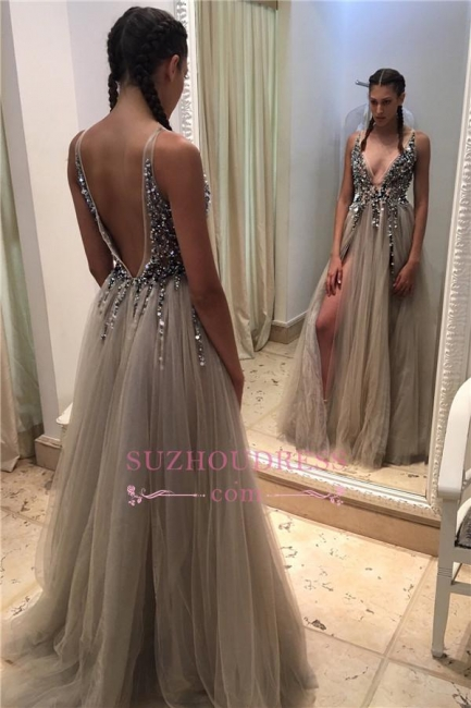Deep V-neck Tulle Front Slit Evening Gowns Crystals Open-Back Sexy Beadings Prom Dresses BA4255