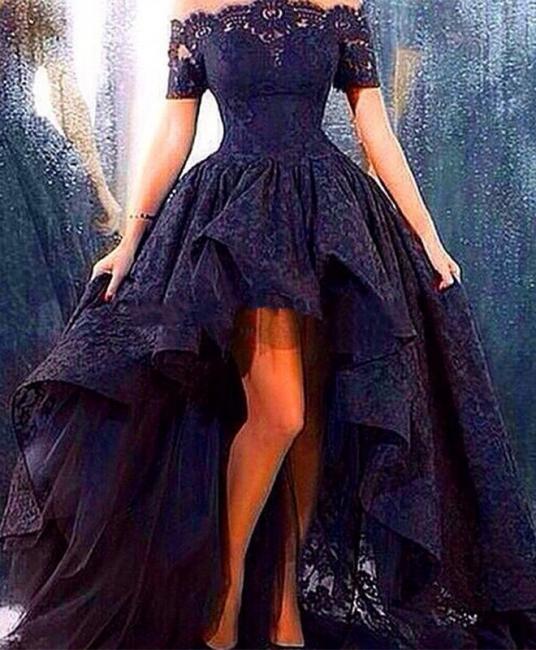 Bateau Sexy Navy Short Sleeve Lace Evening Dress New Arrival Hi-Lo Plus Size Prom Dresses TB0156