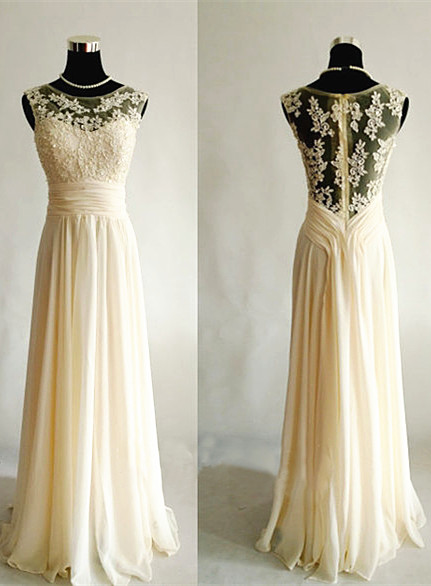 Light Champagne   Long Popular Prom Dresses with Sheer Back Chiffon Evening Dresses
