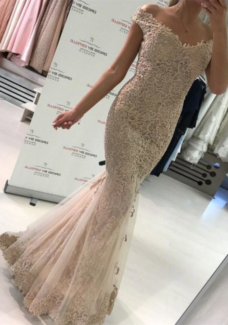 Off the Shoulder Lace Mermaid Evening Dresses | Sweep Train Buttons Lace Prom Dress