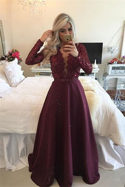 New Arrival Sleeved Burgundy Prom Dresses  Lace Beading Evening Gown BA1924