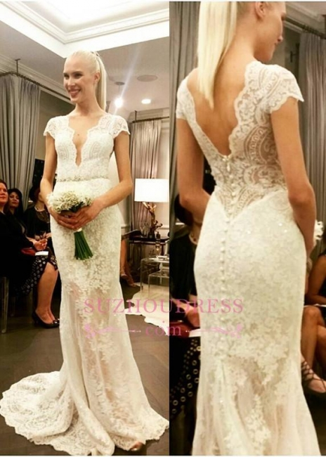 Designer Floor Length Glamorous Lace Bridal Dresses  Button Cap Sleeve Wedding Dress