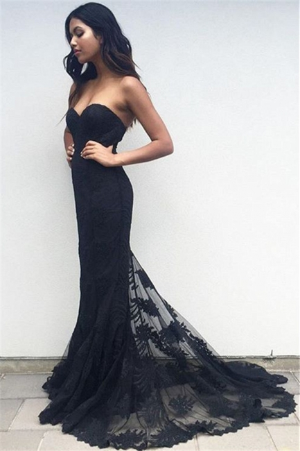 Sweetheart Elegant Sheath Black Lace Appliques Evening Gowns  Long Prom Dresses BA3920