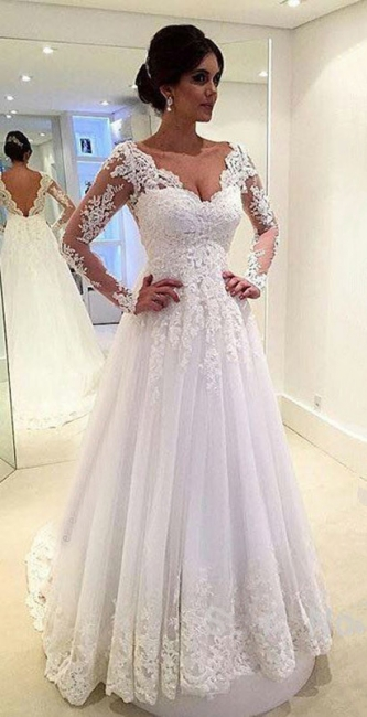 A-Line Elegant White Long Sleeve Bridal Gown Open Back Lace Plus Size Wedding Dress