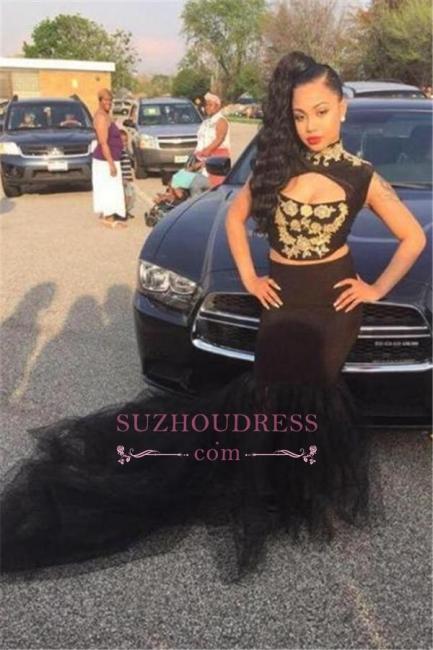 Sleeveless Black  Sexy Mermaid Two-Pieces High-Neck Prom Dress