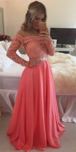 Lace Chiffon  New Prom Dresses Gold Belt Long Sleeve Beaded Evening Gowns BO7998