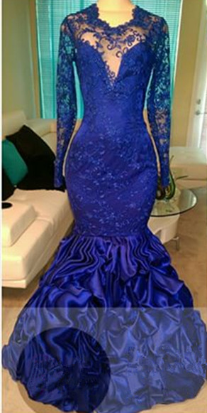 Gorgeous  Royal Blue Long Sleeve Lace Prom Dress Ruffles Mermaid Open Back Evening Gown