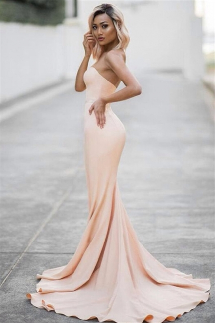 Pale Pink Sweetheart Mermiad Evening Dresses Strapless   Prom Dress CE0035