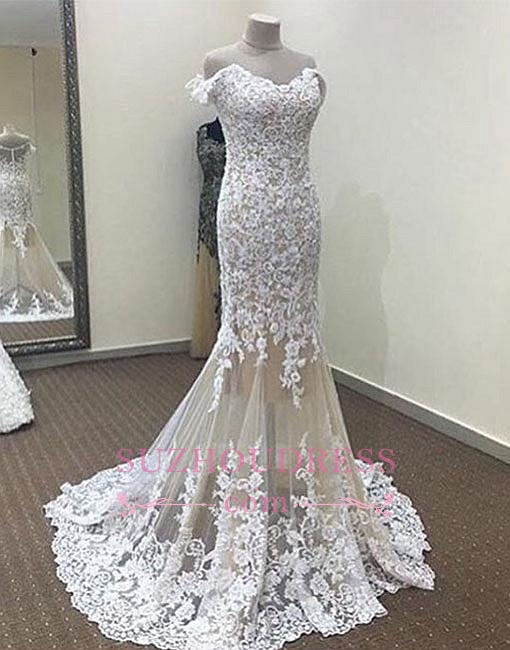 White Mermaid Off-the-shoulder Prom Dresses  Long Lace Evening Dress
