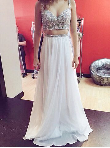Summer Long Two Piece Prom Dresses Sweetheart Sequins Plus Size Formal Party Dresses BMT016