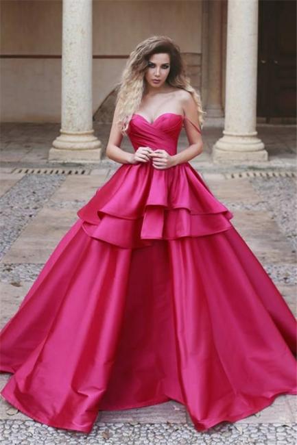 Elegant Sweetheart Spaghetti Straps Evening Dresses  | Ruffles Ball Gown Prom Dresses