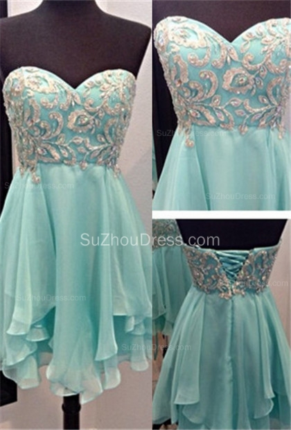 Sweetheart Mini A-Line Homecoming Dresses  Appliques Beadings Lace-Up Cocktail Dresses