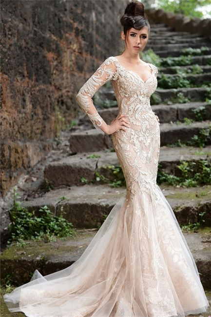 Alluring Sheer Tulle See Through Back Wedding Dresses Mermaid Long Sleeve Ivory Lace Bridal Gowns Online