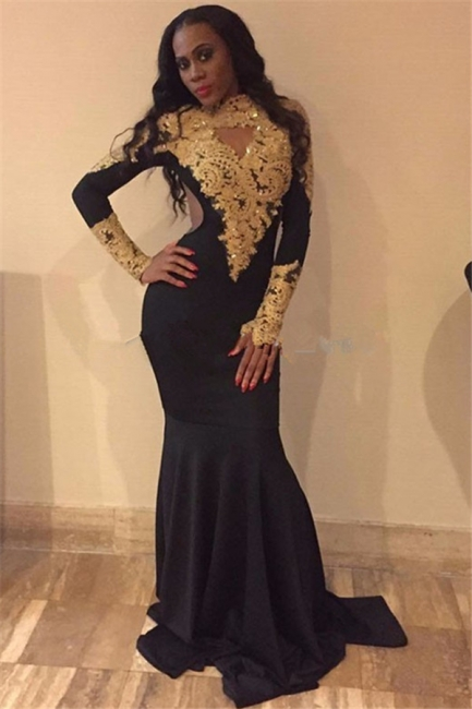 Gold Lace Prom Dresses  | Sexy Long Sleeve Black Evening Gown FB0265