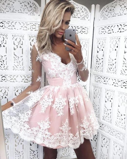 Deep V-Neck Long Sleeves  Hoco Dresses Pink Short Lace Homecoming Dresses