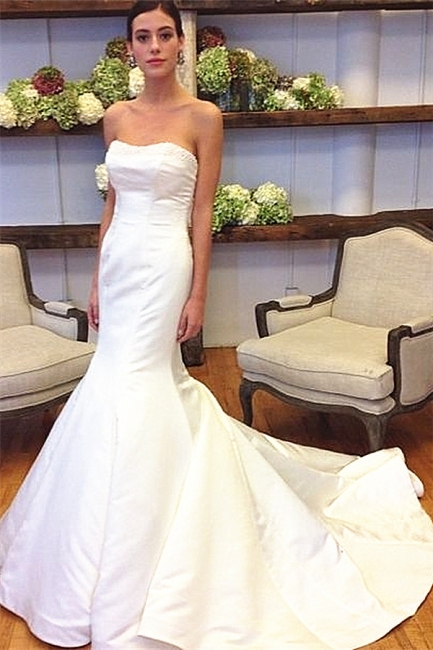 Simple Mermaid White Plus Size Wedding Dress New Arrival Custom Made Bridal Gown for Women