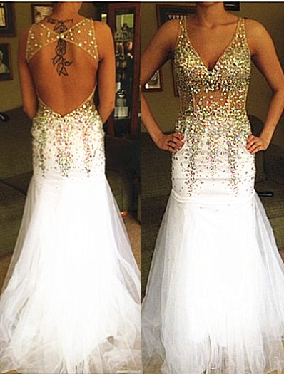 Sexy Mermaid Backless  Evening Dress with Crystals Deep V-neck Prom Dress