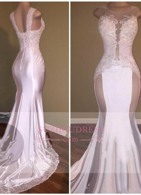 Sexy Mermaid Appliques Sheer Evening Gown  White Beading Lace Glossy Prom Dresses