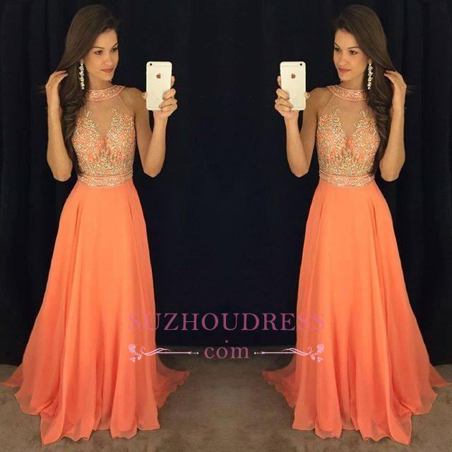 Sleeveless Chiffon A-line Beads Evening Dresses Sweep Train Gorgeous Prom Dress GA076 BA5346