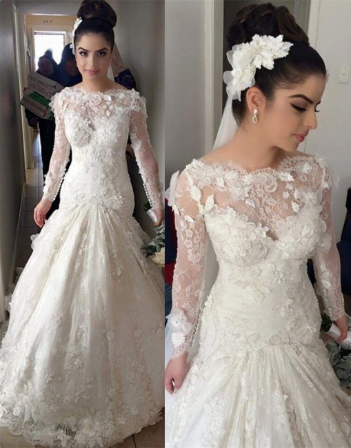 Mermaid Long Sleeve  Wedding Dresses with Train Gorgeous Lace Appliques Bridal Gowns BO8376