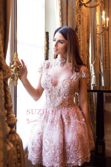 Lace High-Neck Pink Short Long-Sleeve Elegant Homecoming Dresses BA7055