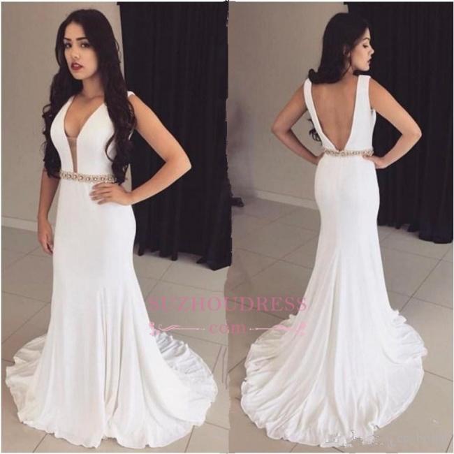 Sleeveless White Bodycon Ball Dress  Straps Modest Crystals Formal Dress